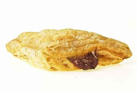 mincemeat: assorted flavour pie with inner mincemeat on white background Stock Photo