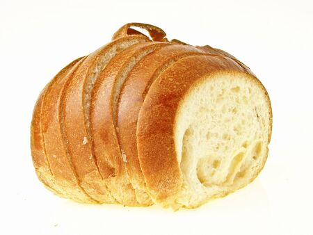 side view of craquelin belgium bread on white background Stock Photo