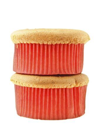 stack of double sponge cake on white background