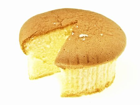 most of sponge cake after area segment cut  on white background
