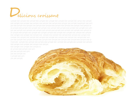 delicious variety sweet croissant with design space on white background Stock Photo