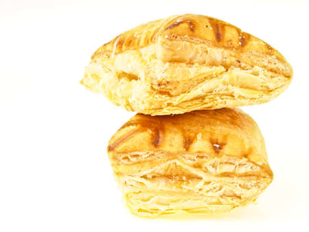 stack of couple square assorted flavour pie on white background photo