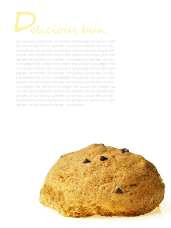 delicious tasty bun and design space on white background Stock Photo