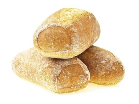 pile of mini french baguette bread on white background