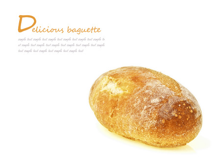 isolated of mini french baguette bread with text space
