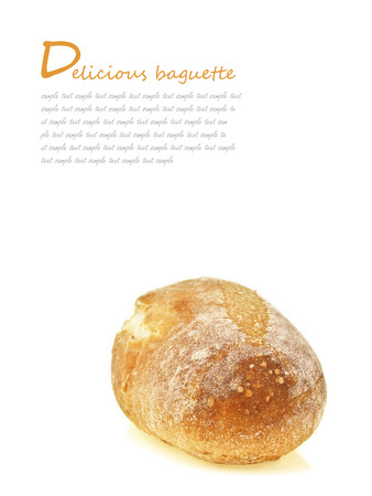 mini french baguette bread on white background with text space Stock Photo