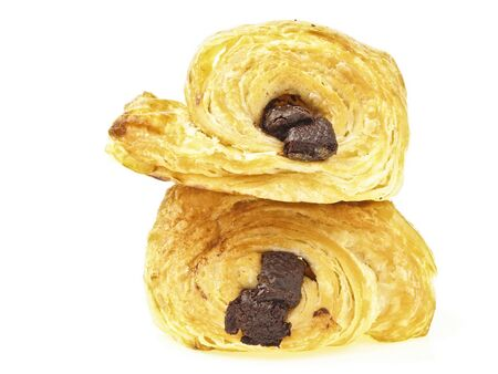 stack of double danish chocolate bread on white background Stock Photo