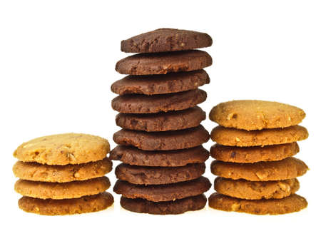 height compare of cookie stack between chocolate cookie and almond cookie on white background Stock Photo