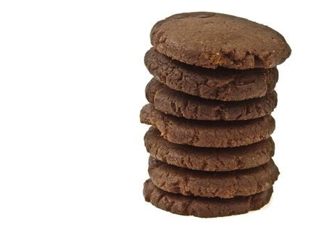 stack of chocolate cookie on white background