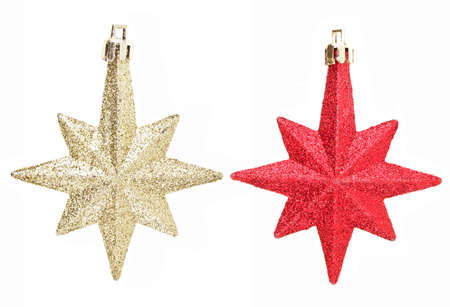 gold and red eight pointed star christmas decoration for design work