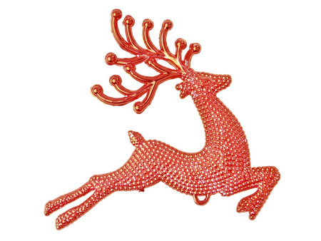 red reindeer christmas decoration for design work on white background