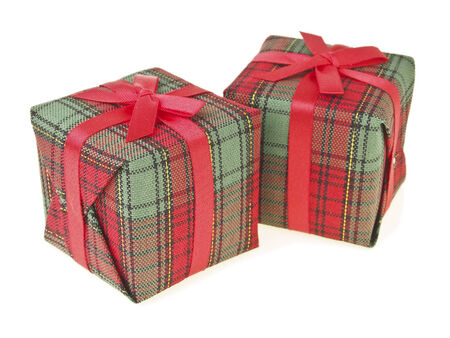 pair of decorate red gift box on white  Stock Photo
