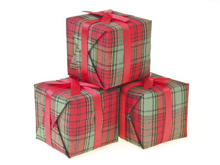 step sequence stack of three decorate red gift box on white