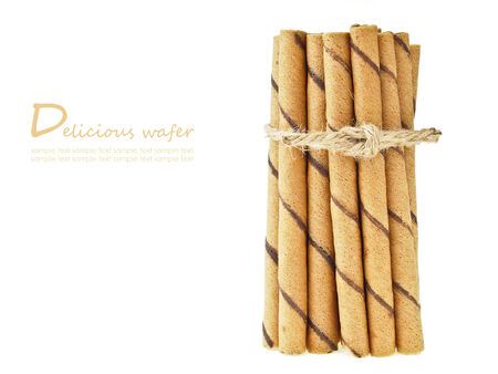 wafer stick group binding by hemp rope on white background