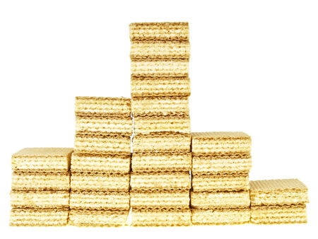 wafer: five step wafer stack in  triangle shape on white background Stock Photo