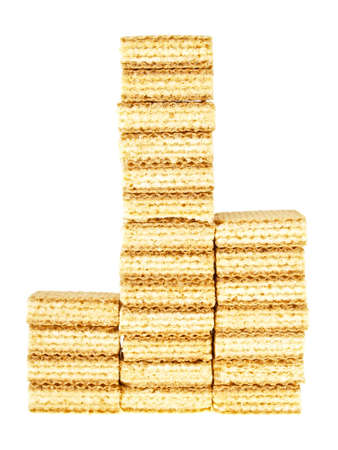 three step wafer stack in triangle shape on white background photo