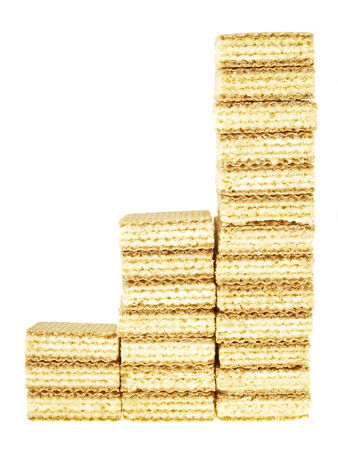 wafer: three step increase by wafer stack on white background
