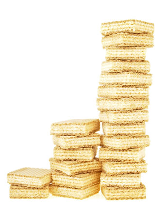 three step high increase of disordered stack wafer as bar graph on white background photo