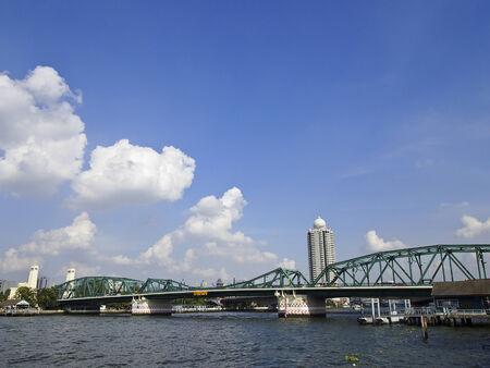 urbanscape: urbanscape scene of Phra Phuttha Yodfa Bridge, Bangkok, Thailand Stock Photo
