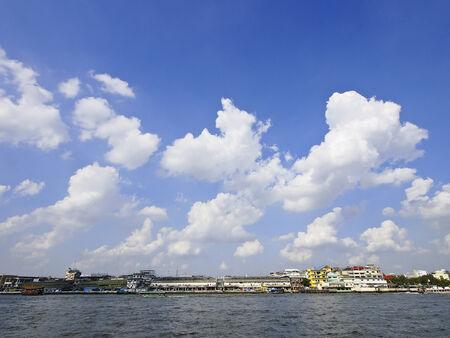 chao phraya river: waterfront scene of Chao Phraya river at Pak Khlong Talat, Bangkok, Thailand