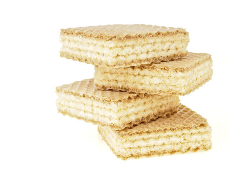 zigzag stack of four wafer on white