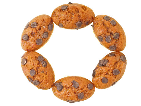 arrange of six orange basket cake in circle shape on white  photo