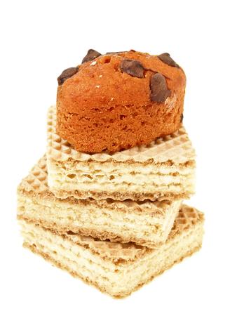 wafer: orange basket cake chocolate on three stack wafer on white  Stock Photo