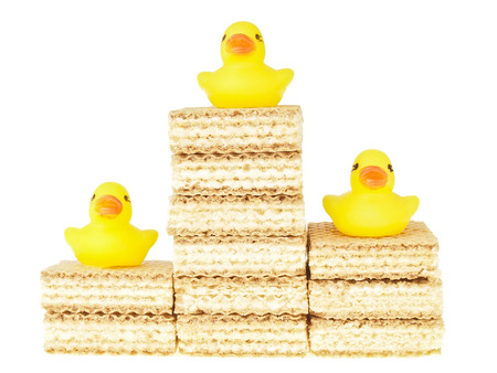 group of wafer stack with duck on top on white background