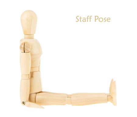 Démonstration du mannequin de bois en personnel pose sur fond blanc. cette pose est partie de la formation de yoga. Banque d'images - 30832914