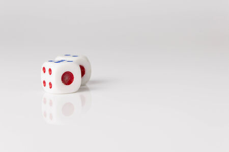 pair of dice show one point side on white background Stock Photo