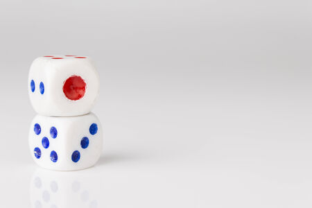 double stack of dice with one point side on top Stock Photo