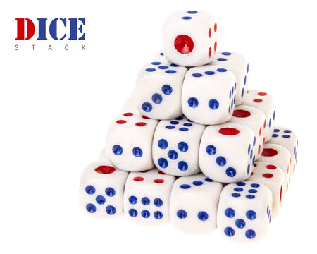 stack of dice in pyramids shape on white background