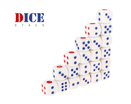 arrange of dice stack in increase step on white background photo