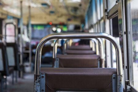 omnibus: scene inside of empty public omnibus, bangkok Thailand