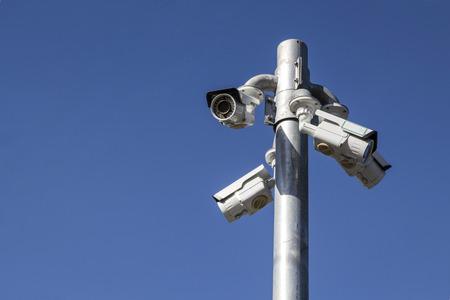 multi-cctv camera install on pole in daylight