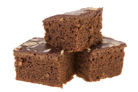 pile of cutting brownies on white background