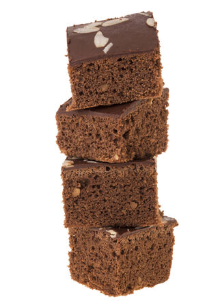 tower stock of four cutting brownies on white background