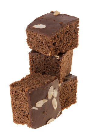 isolation of delicious cutting brownies on white background Stock Photo