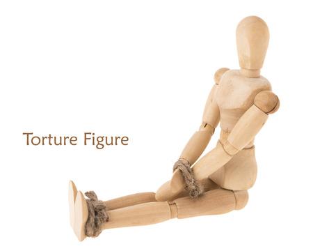 pose of binding hand and leg of sitting manikin by hemp rope on white background