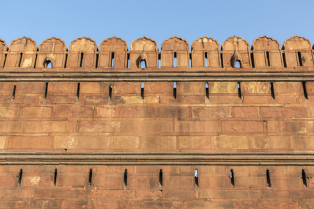 outer wall of Red Fort Lal Qila, Delhi, India