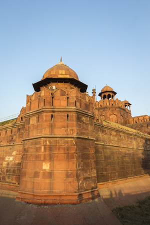 view of Red Fort Lal Qila in evening light, Delhi, India