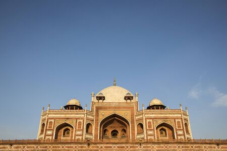 scene of humayun tomb in blue sky. Humayuns Tomb Palace, built by Hamida Banu Begun in 1565-72 A.D, in New Delhi, India Editorial