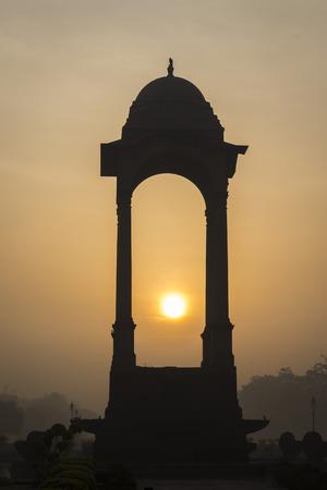 india gate: silhouette scene of canopy of India Gate at rajpath, New Delhi, India Stock Photo