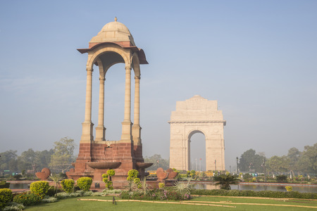 india gate: scene of canopy and India Gate in morning at rajpath, New Delhi, India