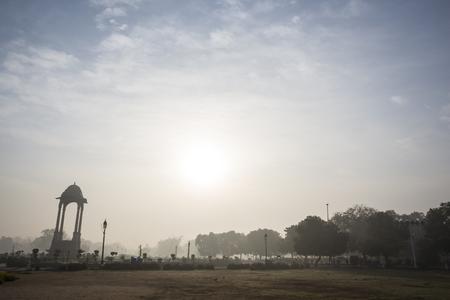 india gate: sun scene of canopy of India Gate in sunrise at rajpath, New Delhi, India Stock Photo