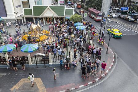 phrom: BANGKOK,THAILAND - jan 23 : Unidentified crowd in Erawan shrine at Ratchaprasong Junction on january 23, 2016, Thailand. Editorial