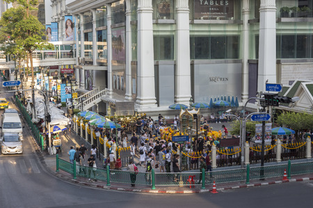 phrom: BANGKOK THAILAND - APR 17 : scene of Ratchaprasong Junction at Erawan shrine corner on april, 17, 2016, thailand. Ratchaprasong Junction one of  is famous landmark of Bangkok