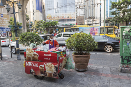 cart road: BANGKOK THAILAND - APR 29 : coffee cart stall on footpath at sukhumvit road in Asoke on april, 29, 2016, thailand.