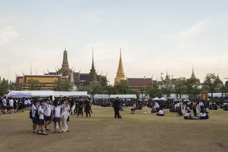 adulyadej: BANGKOK THAILAND - OCT 28 : the mourners at Sanam Luang, while the body of Thailand Bhumibol Adulyadej keep in Grand Palace on october, 28, 2016