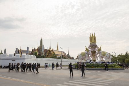 kaew: BANGKOK THAILAND - NOV 5 : scene of mourners on Ratchadamnoen Nai road in sanam luang area, while the funeral of king Bhumibol Adulyadej in Grand Palace on november, 5, 2016